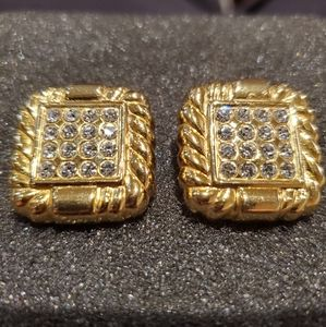 Vintage gold stainless zirconia square earrings